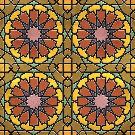 A quadruple cluster of seamless arabesque tiles in dominantly yellow and red colors