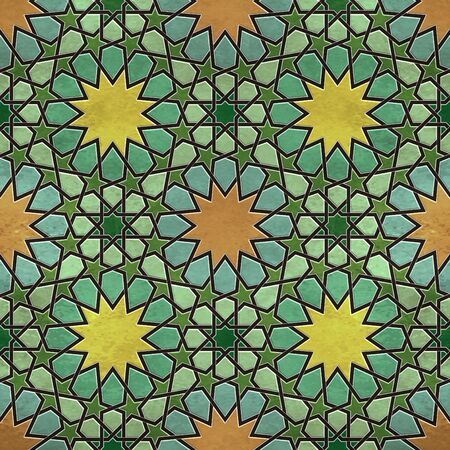 A quadruple cluster of seamless arabesque tiles in dominantly yellow and green colors
