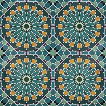 A quadruple cluster of seamless arabesque tiles in dominantly blue and green colors Imagens
