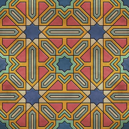 A quadruple cluster of seamless arabesque tiles in dominantly blue and red colors