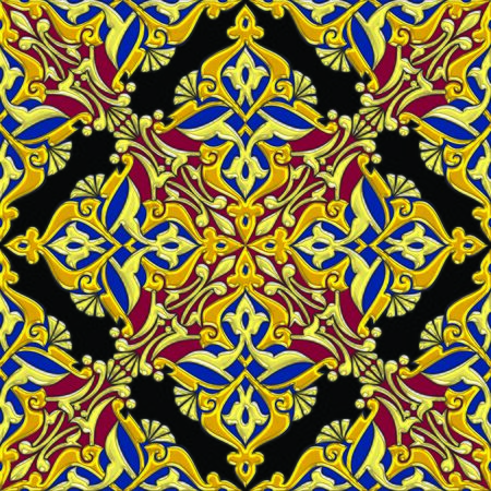 Seamless floral arabesque tiling combination in dominantly golden effect color
