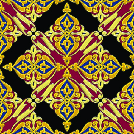 Seamless floral arabesque tiling combination in dominantly golden effect color Stockfoto