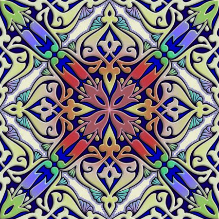 seamless floral arabesque tile in mixed color effect