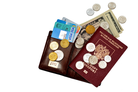 parsimony: Passport number of credit cards and some cash, thats all you need for putishetviya world. Volgograd region, Russia - November 14, 2016 Editorial