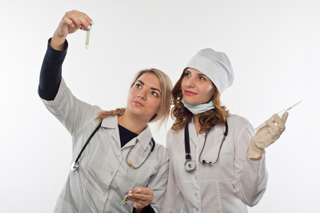 Health  workers consulting on the taken test`s result Stock Photo