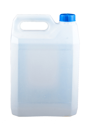 Plastic canister on white background Stockfoto