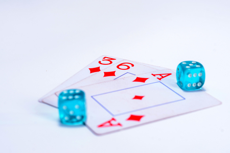 A playing cards, dice on isolated white background