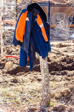 Warm jackets of road workers hang on a tree trunk on a sunny spring day