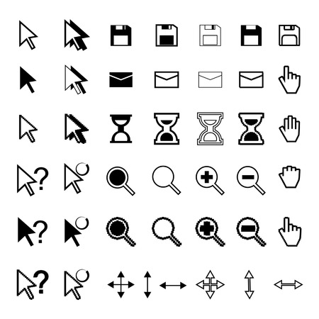 cursor icon vector set. white and black Vector