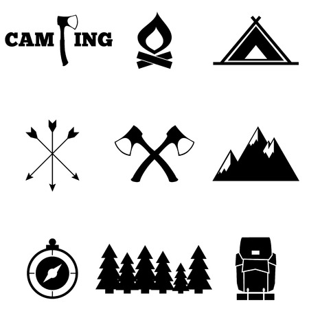 camp fire: icon set camping Illustration