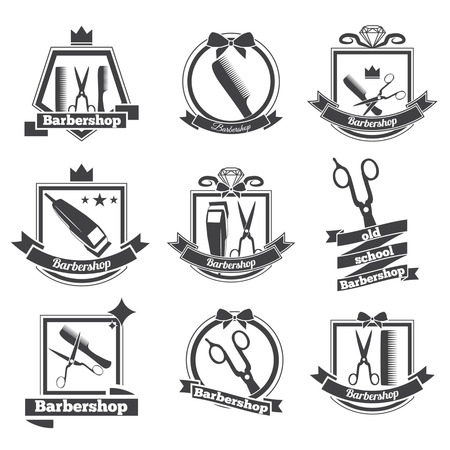 hair saloon: collection logo for your barbershop