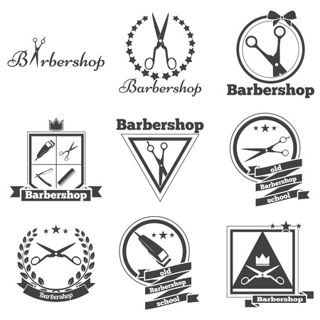 hair beauty: collection logo for your barbershop