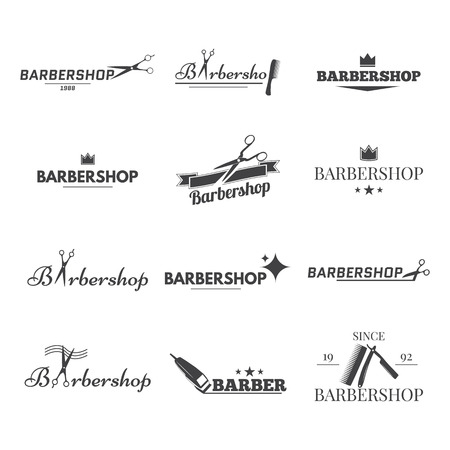 comb hair: collection logo for your barbershop