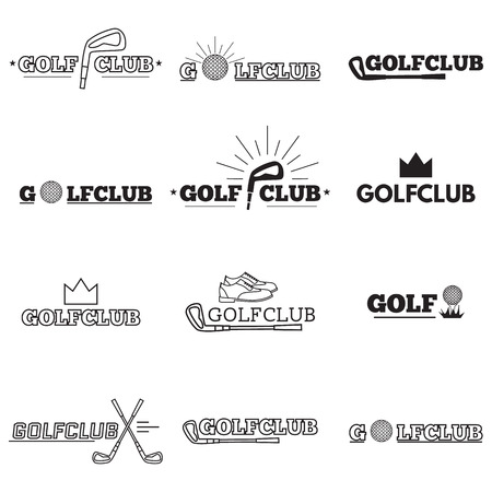 golf tee: Set of golf club logos, labels and emblems
