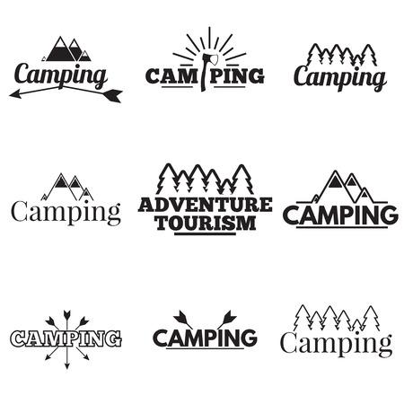 arbol de cafe: Conjunto de acampar logotipos, etiquetas y emblemas