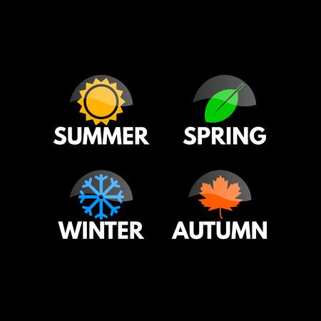 seasons: Four seasons icon symbol vector illustration. Weather Illustration