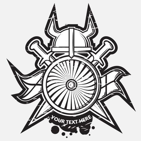 medieval: Vector arma medieval logotipo, sello y el emblema Vectores