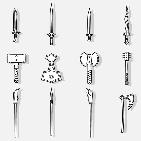 thor's: Vector medieval weapon logo, label and emblem