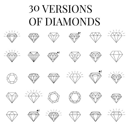 karat: 30 Diamond  icons set, design Illustration