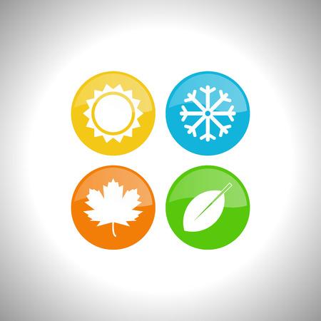 estaciones del año: Cuatro estaciones icono símbolo ilustración vectorial. Clima