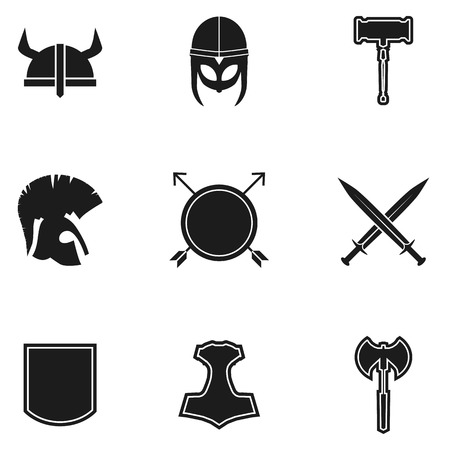 double game: Vector set medieval weapon icons