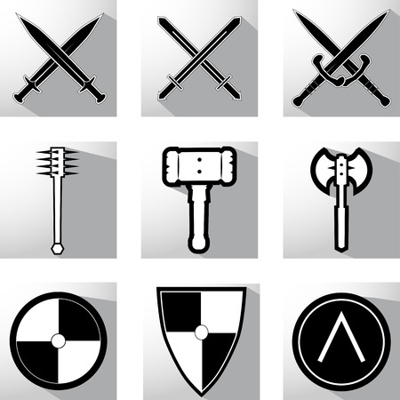 a cudgel: Vector set medieval weapon icons