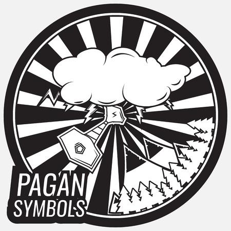 pagan: Vintage pagan, mystical, mythical logo, label and emblem Illustration