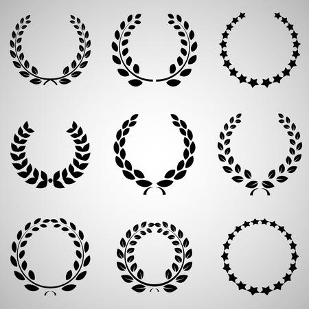 rama de olivo: versiones de una corona de laurel y las fuentes que se pueden aplicar en el diseño Vectores