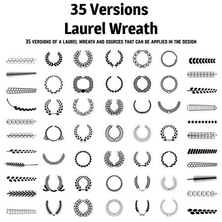 foglie ulivo: 35 versioni di una corona di alloro e le fonti che possono essere applicate nella progettazione Vettoriali