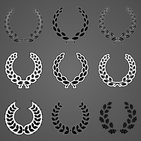 palm wreath: versions of a laurel wreath and sources that can be applied in the design Illustration