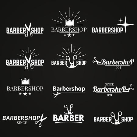 Kolekcja logo, emblematy dla fryzjera