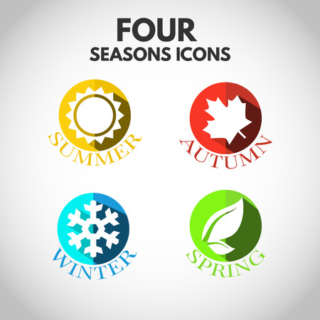sunny season: Four seasons icon symbol illustration.  Illustration