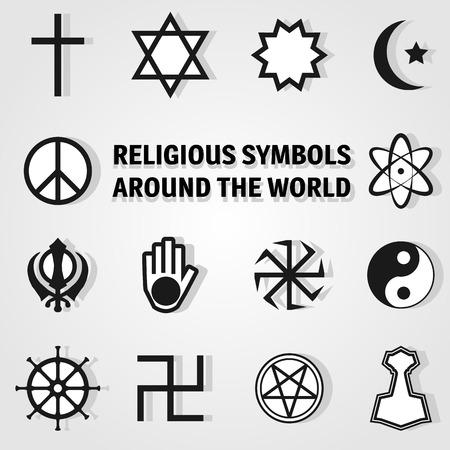 simbolos religiosos: Los símbolos religiosos de todo el mundo, conjunto de iconos
