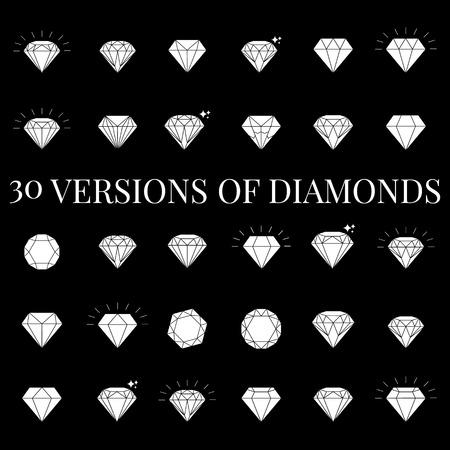 diamond background: 30 Diamond  icons set, design Illustration