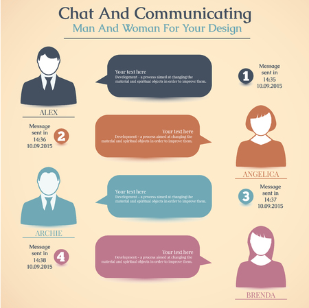 communicating: Chat and communicating man and woman for your design