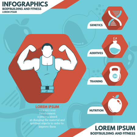 illustration with genetically developed man, his diet and a healthy lifestyle Stock Vector - 46570750