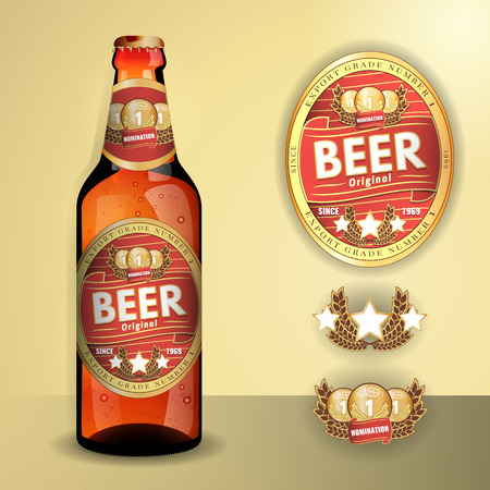 unlabeled: Beer Label and neck label on clear transparent glass beer bottle with aluminum lid - vector visual, for beer, lager, ale etc. Fully adjustable & scalable.