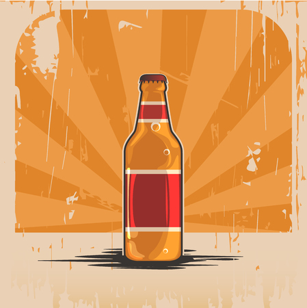old time: A bottle of beer. Illustration realistic retro bottle in the style of old time background. Banner Advertising Illustration