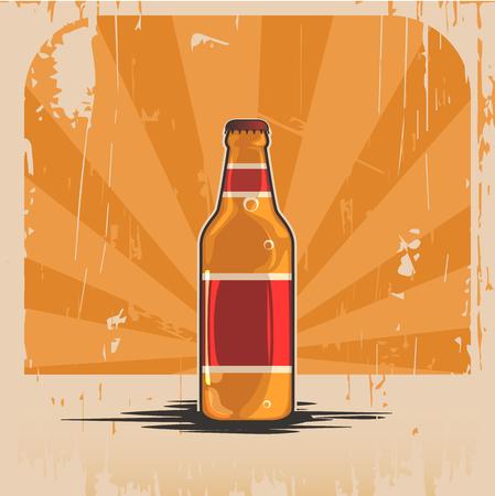 Een fles bier. Illustratie realistisch retro fles in de stijl van de oude tijd achtergrond. Reclame van de banner