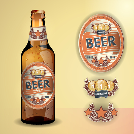 beer bottle: Beer Label and neck label on clear transparent glass beer bottle with aluminum lid - vector visual, for beer, lager, ale etc. Fully adjustable & scalable.