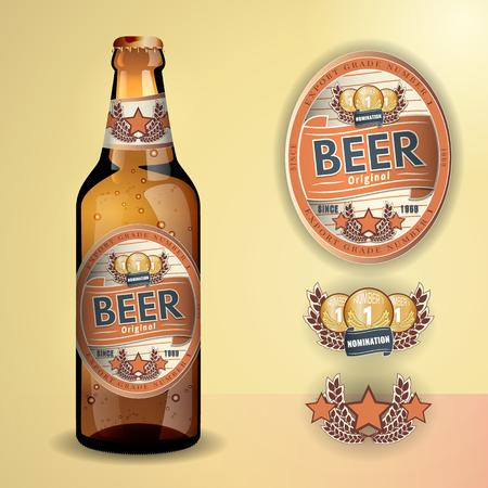 Beer Label en nek label op heldere transparante glazen fles bier met aluminium deksel - vector visueel, voor bier, pils, ale etc. Volledig verstelbare en schaalbaar. Stockfoto - 47399002