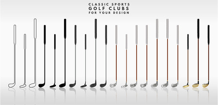 Illustration of golf clubs on a white background in different colors and sizes