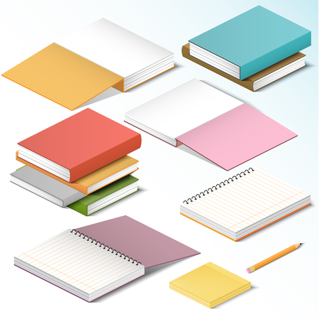 pocket pc: Isometric illustration on a white background with the image of books notebooks notebooks