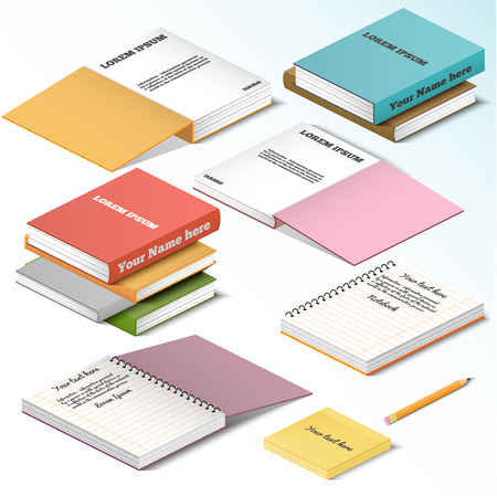 notebook page: Isometric illustration on a white background with the image of books notebooks notebooks