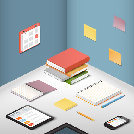 carriers: Carriers , supporting objects and modern gadgets, illustration office items on the desktop
