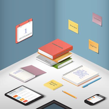 articulos de oficina: Los transportistas, objetos de apoyo y aparatos modernos, elementos de la ilustración de la oficina en el escritorio