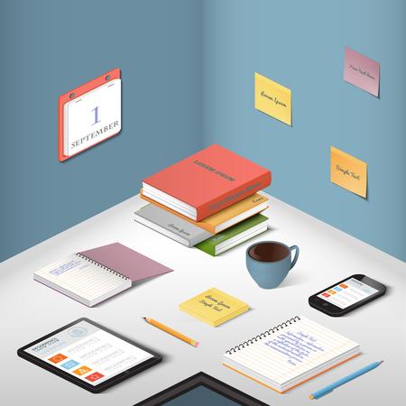 articulos de oficina: Los transportistas, objetos de apoyo y aparatos modernos, elementos de la ilustraci�n de la oficina en el escritorio