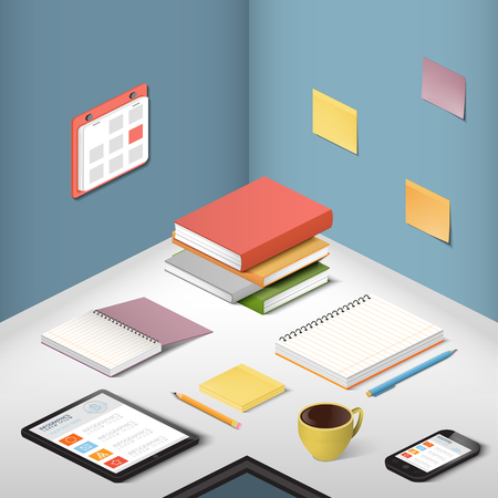 Carriers , supporting objects and modern gadgets, illustration office items on the desktop