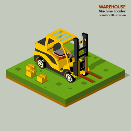 transportation facilities: Illustration isometric style, Warehouse work , for your design