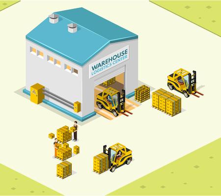 Illustratie isometrische stijl, Warehouse werk, voor uw ontwerp